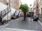 The courtyard outside the apartments building