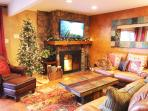 Wood burning fireplace with free wood, 3 comfy sofas