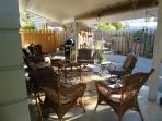 Catch a cool breeze on the covered patio
