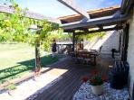 Sunbathe or dine next to your child safe overground pool