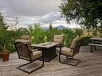 Outdoor patio with scenic views of the Bridger Mountains.