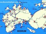 Map Bodrum peninsula