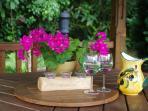 African hut in Home farmhouse garden. Enjoy outdoor Dinning