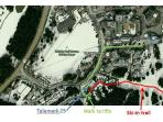 Map showing location of Telemark, ski-in trail and walk to lifts