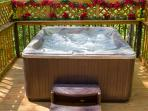 New Private Hot Tub/Waterfall/LED Lights . Enjoy watching the squirrel's playing in the Tree's