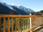 Large balcony with Mont Blanc views