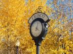 Frisco clock at Pocket Park, 1 block away at Main Street