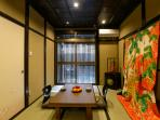 Japanese tatami mat room (with old traditional wedding kimono)