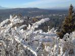 From Pilot Butte overlooking Bend. Middle and North Sisters, Black Crater, Mt Washington, Black Butte, Three Finger...