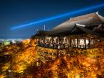 Kiyomizu Dera Temple during a night light-up (20 minutes away on foot)