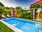 Pool area at the villa