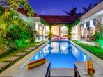 the villa pool view at night