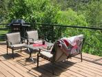 Deck overlooking river...great for visiting, grilling, napping, star gazing....