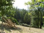 Shaded deckchairs for relaxing and taking in the stunning views