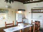 The kitchen is a masterpiece of ancient and modern
