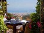 Enjoy the stunning view of Lefkada town while eating your breakfast!