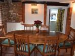 Dining area with oak dining table.