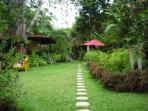 Pathway to the back of the gardens to Bungalow Bunga Kecil, our private Honeymoon Bungalow.