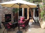 Front Courtyard w/fireplace