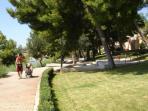 Promenade 2km long below house connects old village of Seget Donji to Medena bay.