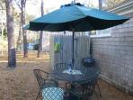 Outdoor table with umbrella and charcoal grill - 18 Bonnie Lane South Harwich Cape Cod New England Vacation Rentals