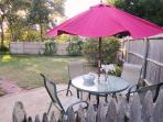 Umbrella and 4 chairs - private - overlooking back yard - 130 Belmont Road West Harwich Cape Cod New England Vacation ...