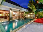 Villa Menari, Pool area by night, swim day or night in your own private pool