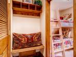 The bunk room is really more of a nook - just enough room for sleeping!