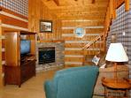 Angler's Perch #2523- Living Room with Fireplace & Flat Screen T