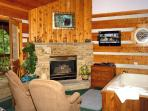 Puppy Love #1619- Living Room with Flat Screen TV, Fireplace, &