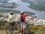 Mountain biking in the mountains, panoramic views of the Vila Nova de Cerveira