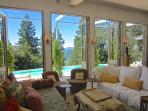living room looking to pool
