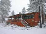4 Seasons Of Fun Cabin Front during 1st Snow Winter season