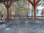 Keep the stress away in the Hot Tub on covered Deck while enjoying Lake & Mountain views