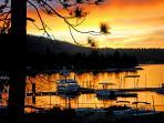 Front Deck view of Fall Sunset over Big Bear Marina