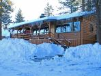 4 Seasons Of Fun Cabin Front in Winter with snow cleared for easy access