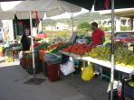 Locally grown vegetables and fruit.