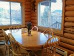 The dining table at Yellowstone Lookout Log Cabin