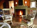 Wood fireplace.