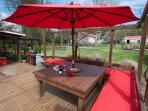 sunny outdoor living and dining