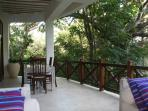 Terrace with dining table and lounge set