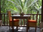 The restaurant, called the River Cafe is part of Villa Nirvana. It overlooks a lush forest and a gorge