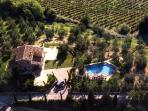aerial view of the Villa with pool