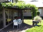 Alfresco dining under our grapevines