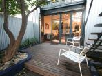 Courtyard deck with lemon tree