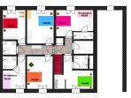 plan de l'étage et répartition des lits et salles de bains