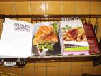 Numerous cooking books at disposal in English and French