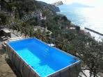 Villa close to san montano beaches with private above ground swimming pool and isle of capri seaview