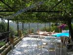 Villa sorrento coast with large terrace with table, solarium, swimming pool and beautiful ocean view