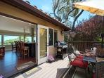 Spacious outdoor deck has dining for 6 and a gas BBQ.